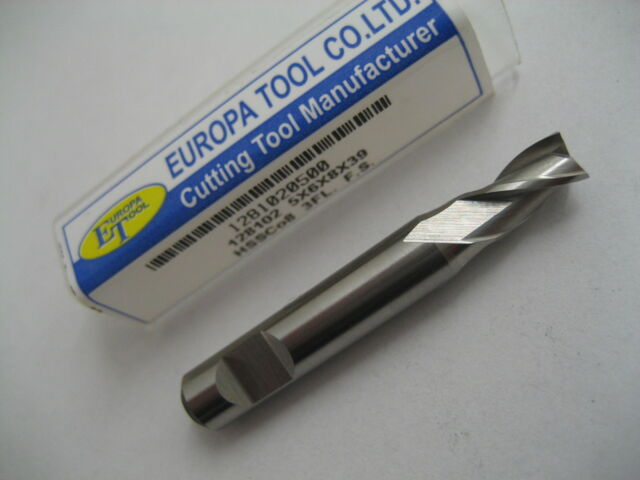 5mm HSSCo8 FC3 3 FLUTE BOTTOM CUT SLOT DRILL END MILL EUROPA TOOL 1281020500 #E7