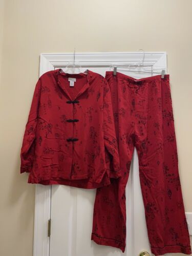 Soft Surroundings Red Black Lantern Pajama Set Siz