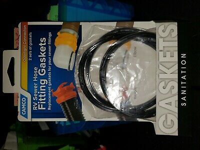 Camco 39835 RV Sewer Hose Fitting Gaskets 4 Pack 2 Sets Replacement Odortight x2