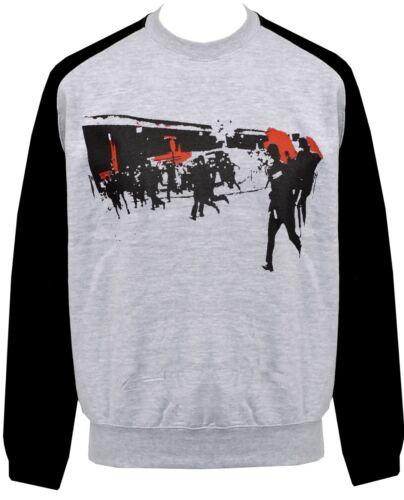 UNISEX RAGLAN SWEATSHIRT THE CLASH LONDONS BURNING POLICE RIOT PUNK 1977 S-2XL