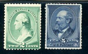 USAstamps-Unused-VF-US-1887-Washington-Garfield-Bank-Notes-Scott-213-MH-216-RG