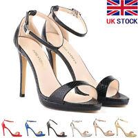 Womens High Heels Platform Stiletto Court Shoes Strap Sandals Size 3 4 5 6 7 8 9