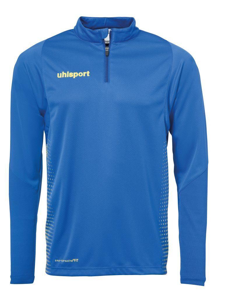 Uhlsport bambini sport Footbtutti Soccer 14 Zip lungo Sleeve Top Sweatshirt blu Yel