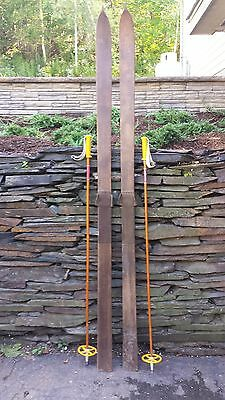 """Interesting OLD Wooden Skis 83"""" Long Signed  Have Points at Top of Skis"""