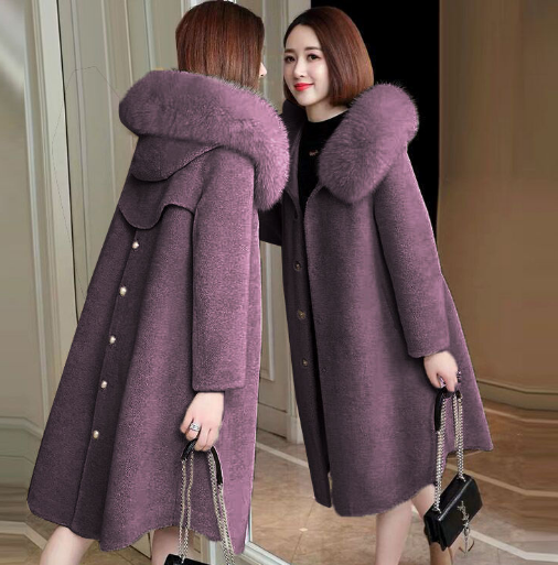 Womens Wool Coats Long Jacket Cashmere Loose Hooded Fur Collar Plus Warm Casual