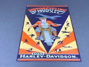VINTAGE-HARLEY-DAVIDSON-MOTORCYCLE-12-X-8-ADVERTISING-METAL-1931-GAS-amp-OIL-SIGN