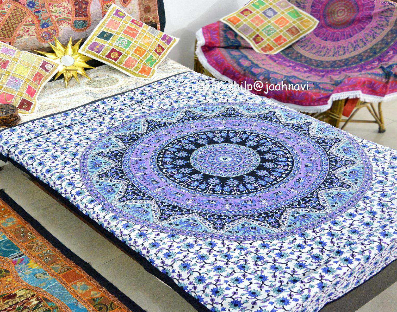 Indian Doona Mandala Hippie Bohemian Blanket 1 Tapestry+ Duvet Cover+ 2 pillow_z