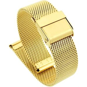 16mm-Stainless-Steel-Mesh-Milanese-Watch-Band-Bracelet-Color-Yellow-Gold-PVD