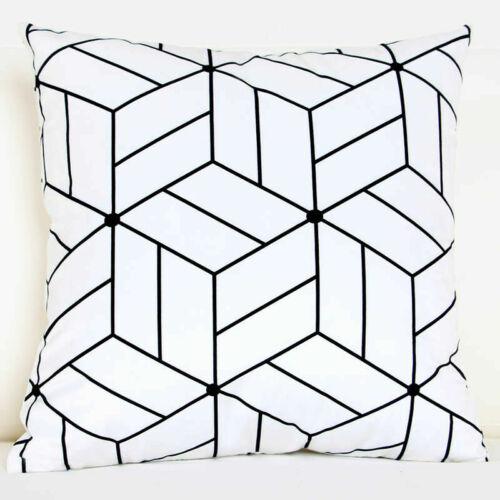 Geometric Cushion 18inch Pillow Decor Cotton Throw Case Linen Pattern Cover