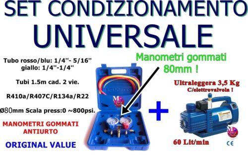 POMPA VUOTO 60 L//MIN MANOMETRI 2 VIE 80MM R410a//R407C//134a//R22 VMG-2-R410A-02