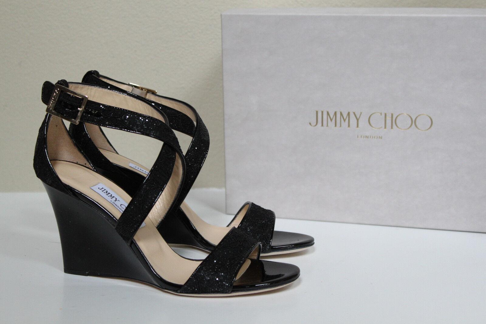 Talla 9 39 Jimmy Choo Fearne Fearne Fearne Brillo Encaje Negro Sandalia Peep Toe Zapato Cuña de patente  venta caliente