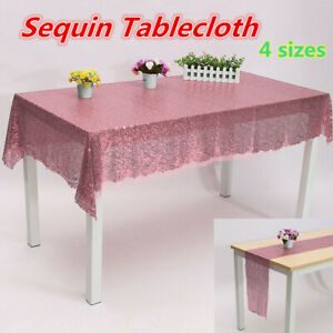 Sequin Table Runner Glitter Sparkly Shiny Bling Material Cloth Wedding Decor UK
