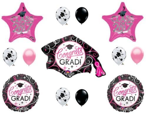 PINK /& BLACK  CLASS 2017 Graduation Party Balloons Decoration Cap Hat Supplies