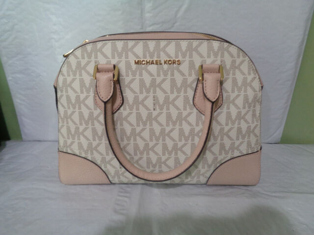 b6e25975a88b NWT - Michael Kors - Leather Hattie Signature - Bowling Bag - Vanilla/Ballet