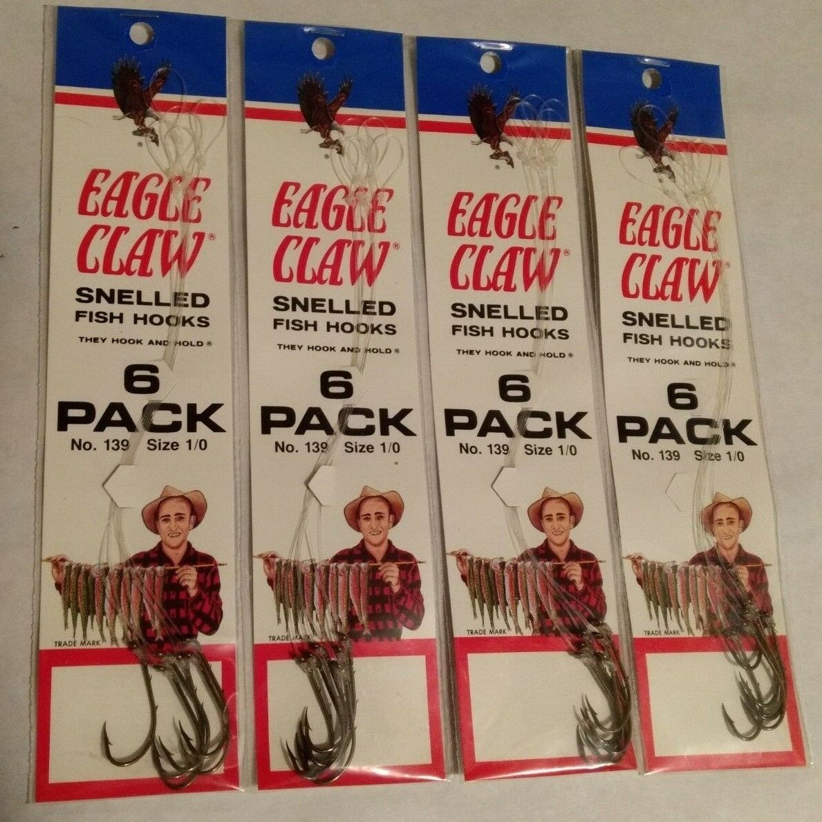 LOT of TWELVE Packs  #139-6 Size 6 Baitholder Eagle Claw Snelled Hooks