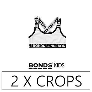 Crops Bra White 2 x BONDS GIRLS CROSS BACK CROP