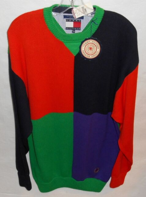 Vintage Tommy Hilfiger Color Block Crewneck Mens XL Sweater New Old Stock 1990's