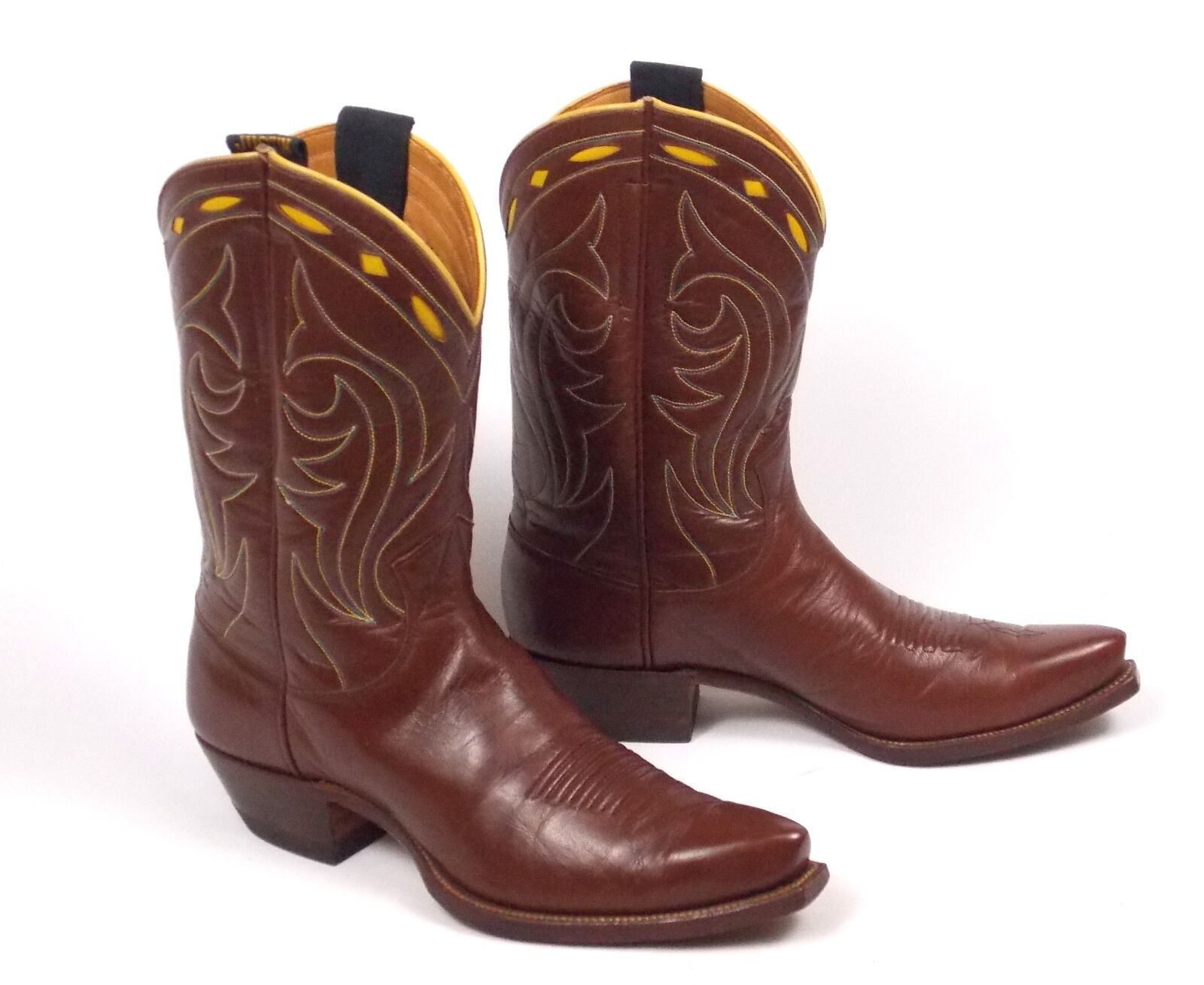 50's Nocona Cowboy stivali -Wmn's 8.5B Vtg Marroneee Shorty Pee Wee Inlaid Cloth Pulls