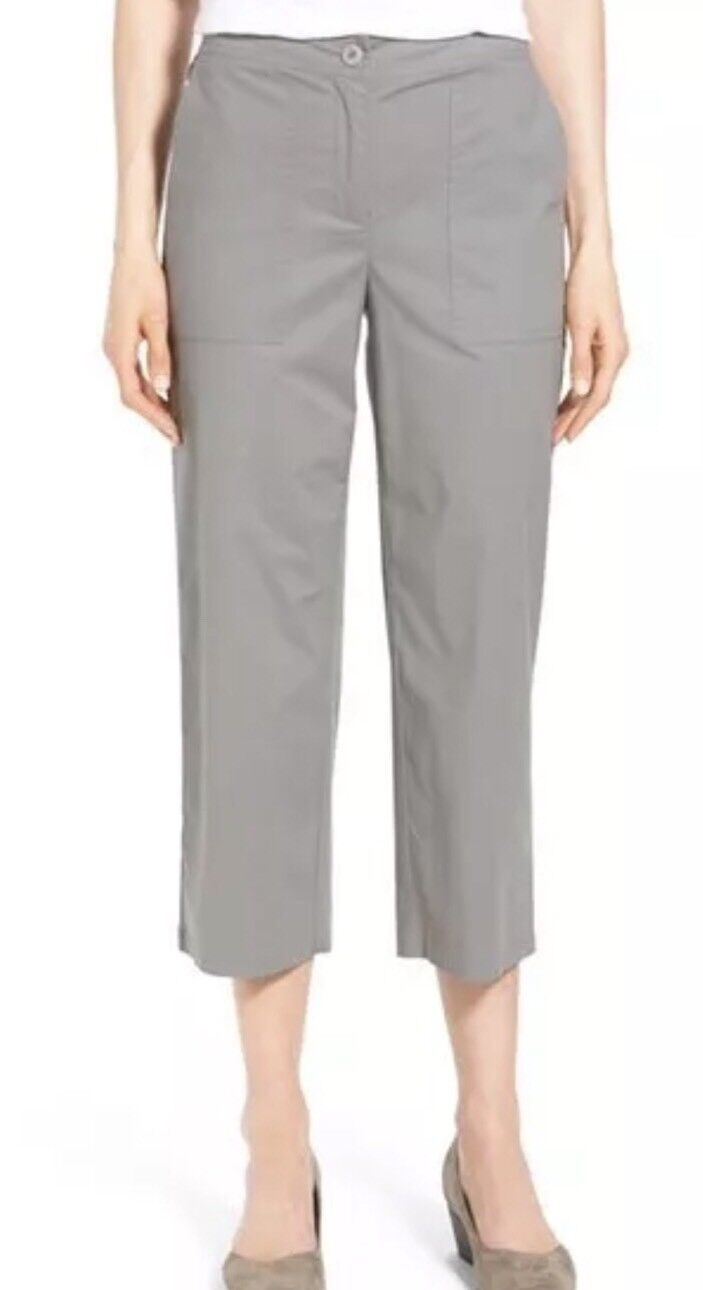 NWT Eileen Fisher Stretch Organic Cotton Poplin Cropped Pants Pewter Sz PS