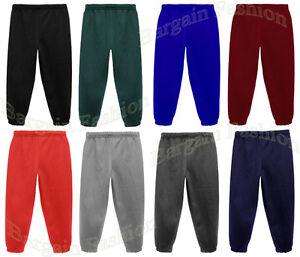 Kids Childern Boys Girls Warm Fleece Jogging Bottoms School Plain Joggers Pants