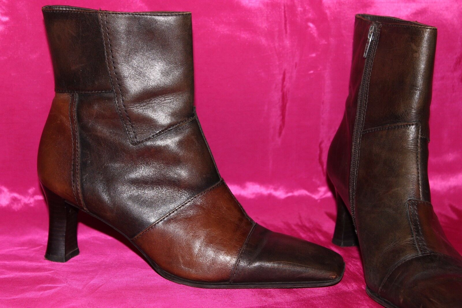 CARAVELLE FLEX  genuine soft brown & tan leather ankle boots heels shoes size 5