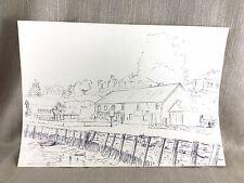 Original Dibujo Boceto Harbor Puerto Barco de Pesca Escena Costera enumerados artista