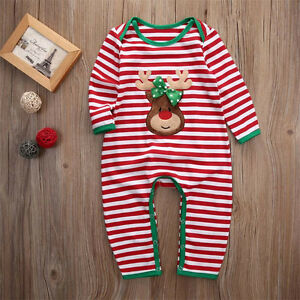 ee7e29a99175 US Newborn Infant Baby Boy Girl Christmas Romper Bodysuit Pajama ...