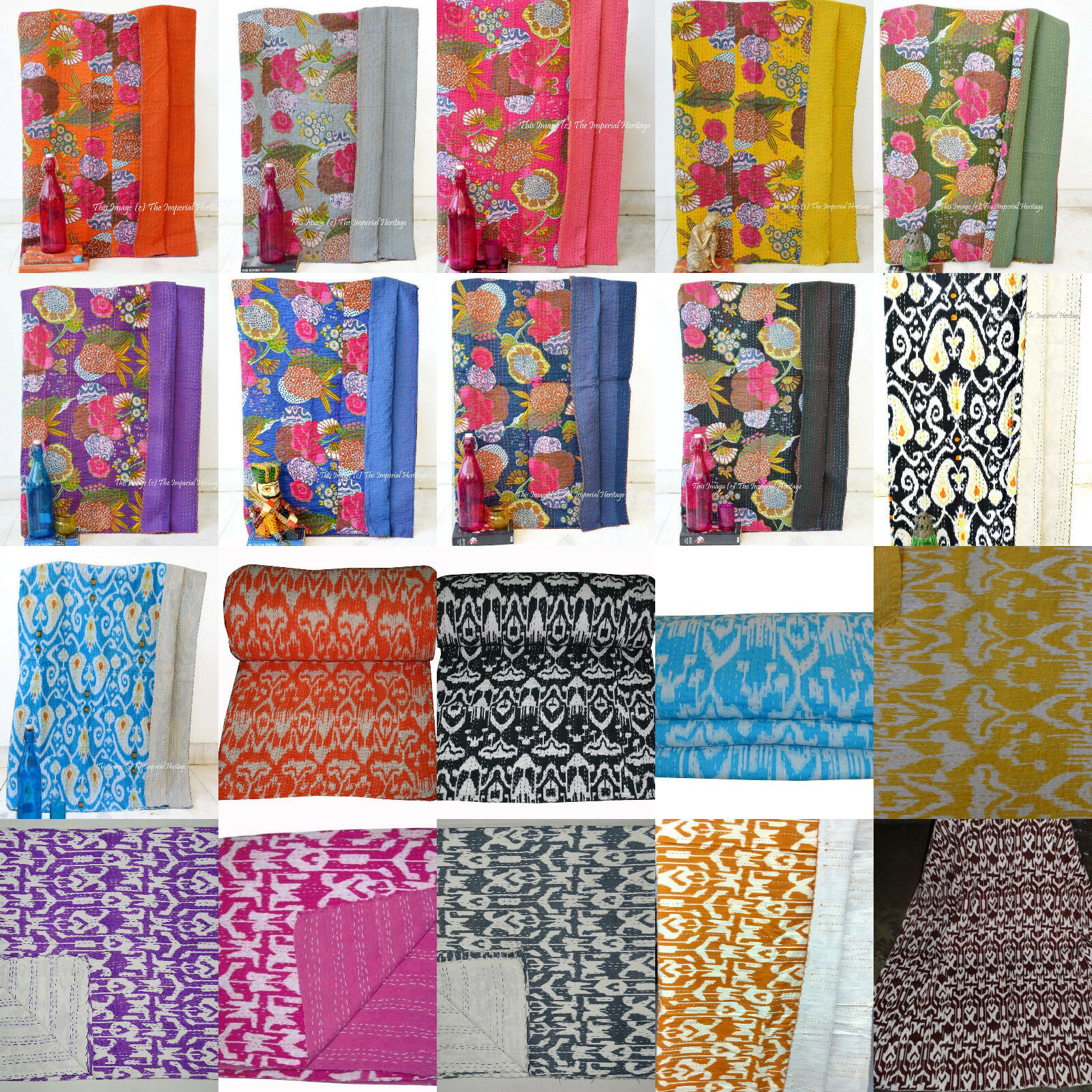 Indian Handmade Cotton Kantha Floral Bed Cover,Quilt,Twin Size Blanket Throw