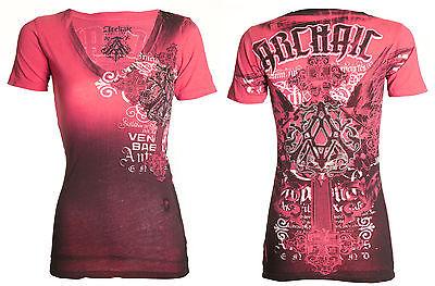 Archaic AFFLICTION Womens T-Shirt CALLINGTON Rhinestones Biker Sinful S-XL $38 a