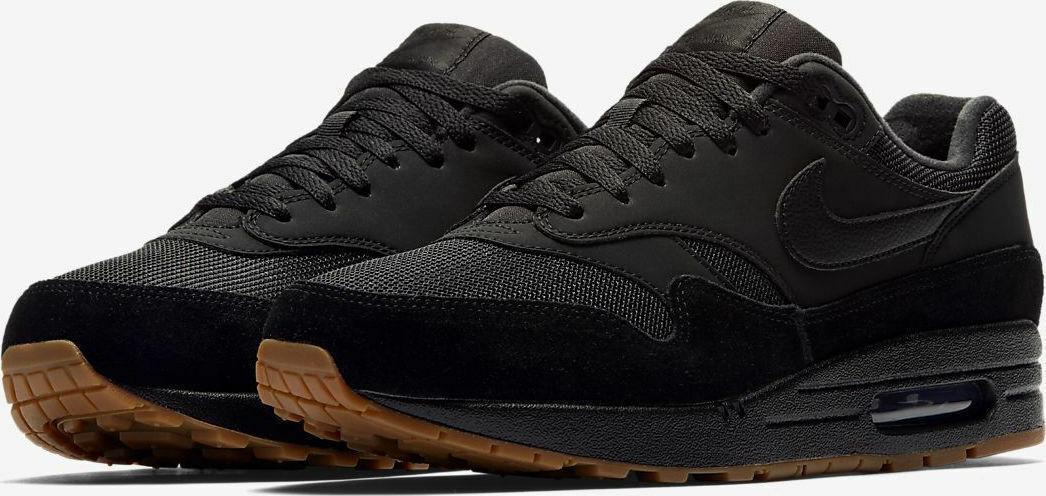 Herren Nike Air Max 1 Turnschuhe Schwarz Gummi AH8145 007 UK 10