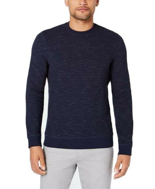 Alfani Mens Sweater Blue Size XL Crewneck Textured Knit Heathered $65 #207