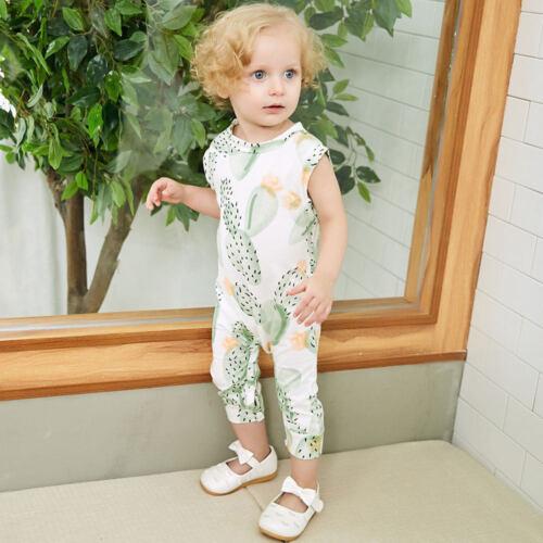 Summer Infant Kid Baby Boy Girl Cactus Print Sleeveless Romper Playsuit Jumpsuit