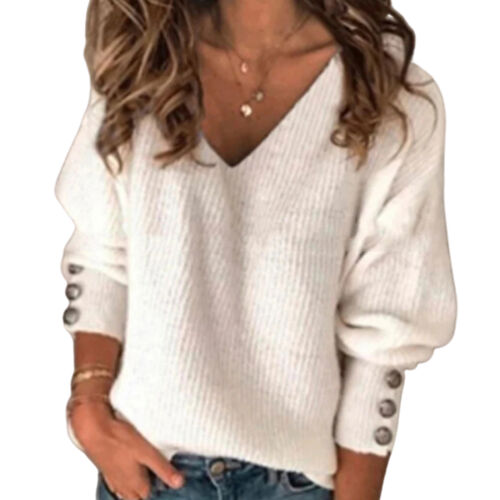 Women Winter Autumn Knit Pullover Buttons Cuff Long Sleeve V Neck Ribbed Sweater