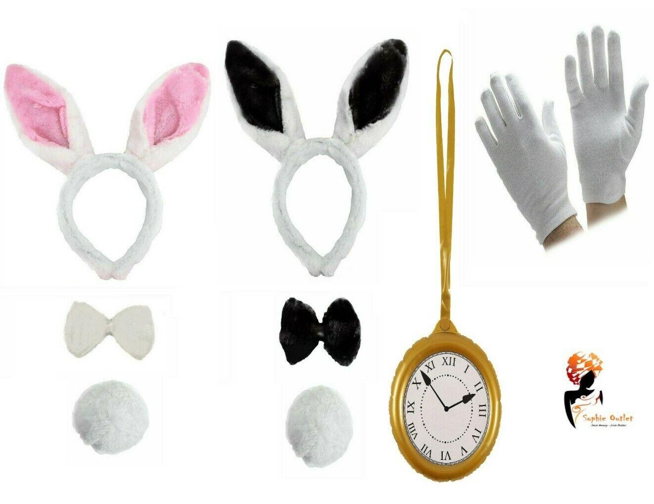 WHITE RABBIT COSTUME Kids Adult Hare Fancy Dress Wonderland Book Week Outfit Lot