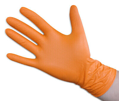 100/x Nitrile Disposable Gloves Powder Free Textured Gloves Sizes XS/ /XL Orange
