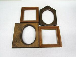 Wood-Picture-Frames-Lot-of-4-Small-Wooden-Frames