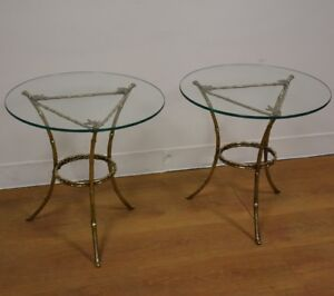 Faux Bamboo Glass And Brass End Tables A Pair Ebay