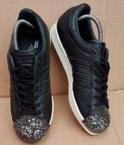 Toe Trainers Superstar 7 80's Leather Uk X Gorgeous Metal Crackle Black Size 3d 8qEcBdF