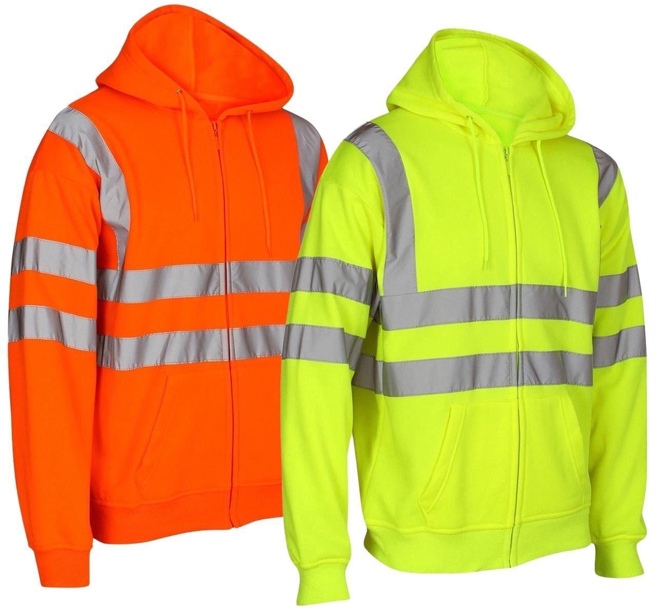 Mens Hi Vis Visibility Zip Sweatshirt Hoody Hooded Work wear Top Zipper