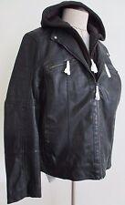Rock & Republic Imitation Leather Racer Jacket Black Men Large Removabl Hood NWT
