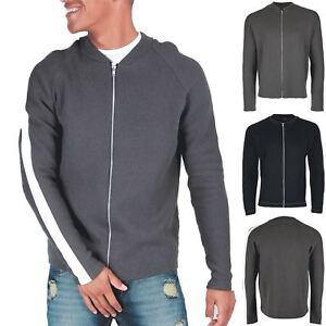 Mens-Baseball-Collered-Front-Zipped-Knitted-Contrast-Stripe-Slevee-Bomber-Jacket