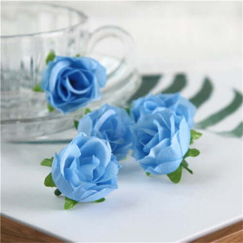 50pcs Small Silk Rose Bud Heads Artificial Fake Flower Wedding Party Decoration