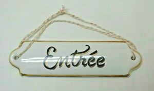 """Details about Anthropologie """" Entree """" French Cottage hanging Entry Sign  Black White Gold"""
