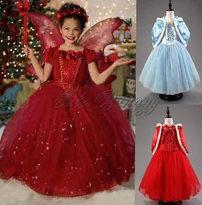 NEW Kids Girls Dresses Halloween Costume Princess Cosplay Party Fancy Dress+Cape