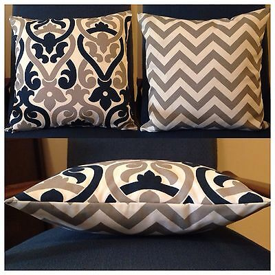 40x40cm In/Outdoor Premier Prints Navy/Grey/White Scroll/Chevron Cushion Cover