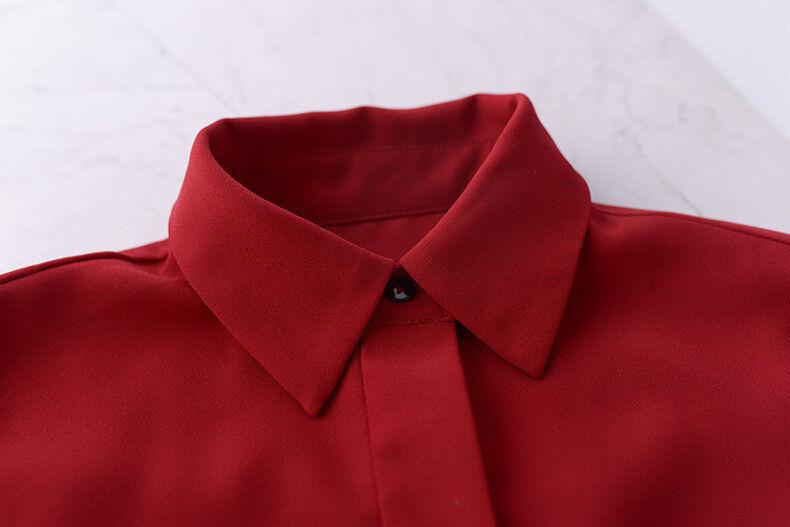 2019 SS  Womens Womens Womens  Designer Inspired  Dark Red Shirt Long Dress 6fe93e