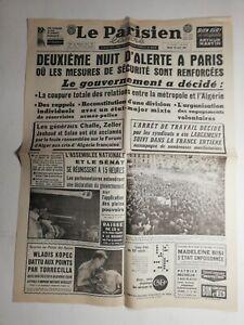 N403-La-Une-Du-Journal-Le-Parisien-25-avril-1961-nuit-d-039-alerte-a-Paris