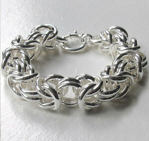 a311877da0e25 Details about Italian Chunky Sterling Silver Byzantine Bracelet, 15mm Wide,  Length 8 inch