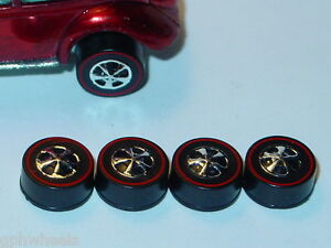 Hot-Wheels-Redline-WHEELS-4-HK-Medium-Black-Bearing-Set-of-4-NEW
