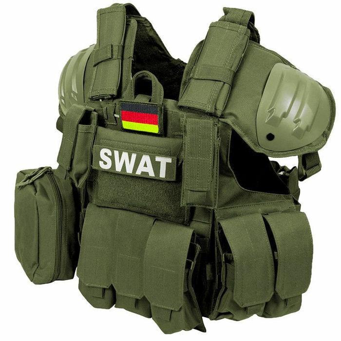 MFH giubbotto antiproiettile SWAT da Combattimento Assalto Airsoft taglia regolabile Oliva OD